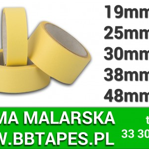 taśma malarska żółta PROUCNET - różne szeorkości/długości